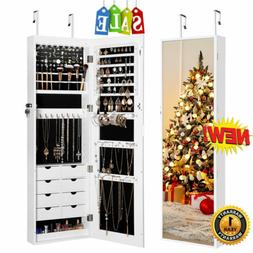 Wall / Door Mounted Jewelry Armoire Cabinet Organizer With 8