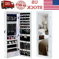Wall Door Mounted Jewelry Cabinet Armoire Large Mirror Jewel
