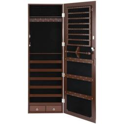 Brown Jewelry Box Cabinet Lockable Armoire Wall Door Mounted