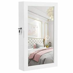 Wall Mounted Jewelry Cabinet with Mirror Lockable Door-Hangi