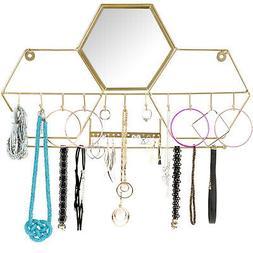 Wall-Mounted Jewelry Storage Organizer: Metal Holder Hanging