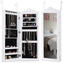 Wall Mounted Mirrored Jewelry Armoire Storage Organizer Box