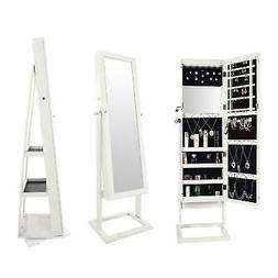 White Dressing Mirror Jewelry Cabinet Armoire Organizer Stor