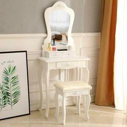 White Vanity Jewelry Makeup Dressing Table Set W/Stool Drawe
