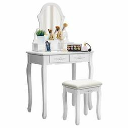 White Vanity Jewelry Wooden Makeup Dressing Table Set W/Stoo