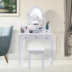 White Vanity Makeup Dressing Table Set w/Stool 5 Drawer&Mirr