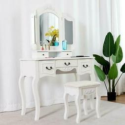 White Vanity Makeup Dressing Table Set w/Stool 5 Drawer&Mirr
