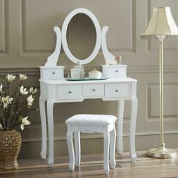 White Vanity Set 5 Drawer Makeup Dressing Table Jewelry Oval
