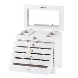 White Wood Jewelry Cabinet Vintage Armoire Box Mirror Storag