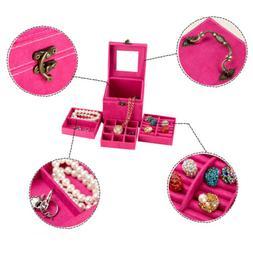 Women Fashion Accessories RingCase Jewelry Box Storage Mirro