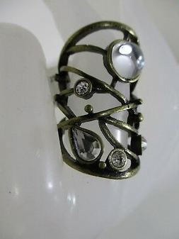 Nordstrom Women's Antique Brass Mirror Stone Large Ring NWT