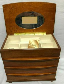 Mele Wood Jewelry Box 3 Drawers Open Top W Mirror Walnut Org