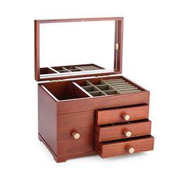 Wood Jewelry Storage Box Built-in Mirror Retro Stoage Case f