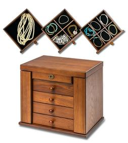 Wood Vintage Armoire Jewelry Box Mirror Necklace Rings Stora
