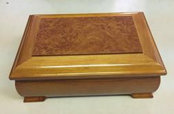Wooden Jewelry Box Mirror Music Movement Ring Section Oak Fi