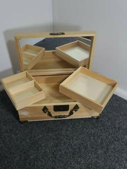 wooden jewelry hinged lock storage and mirror