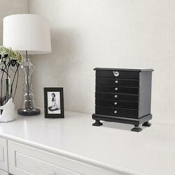 Wooden Jewelry Treasure Amoire Storage Box Organizer Cabinet